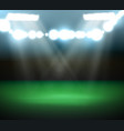 empty football field with spotlights and lights vector image