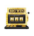 golden slot machine wins the jackpot lucky seven vector image