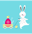 adorable white little bunny pulling cart with vector image vector image