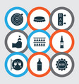 alcohol icons set with nightclub drink vodka and vector image