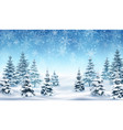 background with falling snow and forest vector image