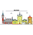 belfries of belgium and france line trave vector image vector image