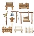 Big set of wooden objects design ranch village vector image vector image