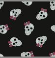 black skull halloween seamless pattern vector image