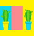 cactus icon in flower pot icon set minimal flat vector image vector image