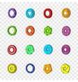 Camera aperture icons set pop-art style vector image vector image