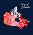 canada map province and territory lettering vector image