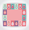 card pink purple orange teal Russian dolls vector image vector image