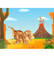 Cartoon triceratops three horned dinosaur vector image vector image