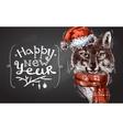 Christmas wolf vector image