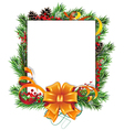 Christmas wreath orange bow and ribbons vector image vector image