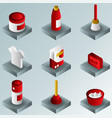 cleaning color gradient isometric icons vector image