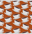 coffee cups on dishes aroma pattern design vector image vector image