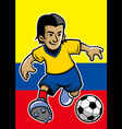 colombia soccer player with flag background vector image vector image