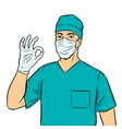 doctor shows ok gesture pop art vector image vector image