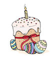 doodle easter cake with candles and eggs vector image vector image