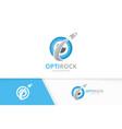 eye and rocket logo combination optic and vector image vector image