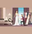 fitting wedding dress dressmaker making dress for vector image