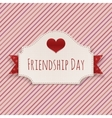 Friendship Day paper Card with Text and Heart vector image vector image