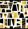 geometric shapes gold foil and black seamless vector image vector image