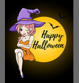 halloween card with cute young witch vector image vector image