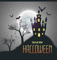 halloween house night sky background with moon vector image