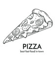 hand drawn pizza icon vector image vector image