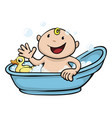 happy cute baby bath time vector image