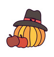 happy thanksgiving day apples and pumpkin with hat vector image vector image