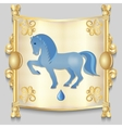 Image of a blue horse on the eastern calendar vector image vector image