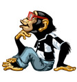 intelligent chimpanzee with glasses vector image vector image