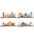 italy india mexico australia architectural vector image