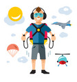 jet pack flat style colorful cartoon vector image