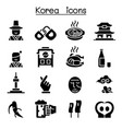 korea icon set vector image vector image