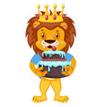 lion with birthday cake on white background vector image vector image