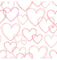 love hearts seamless doodle line pattern vector image vector image