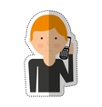 man calling with cellphone character vector image vector image