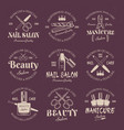 manicure salon set colored emblems vector image vector image