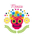 mexico day of the dead skull with floral ornament vector image vector image
