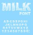 Milk Alphabet white liquid letters Fluid lettring vector image vector image