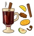 Mulled wine with glass of drink and ingredients vector image