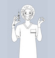 nurse with a syringe in her hand vector image