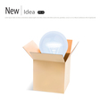 Opened cardboard box with light bulb vector image