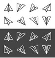 paper plane line icon set vector image vector image