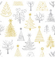 pattern with hand drawn christmas tree vector image vector image