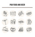 pub food and beer menu doodle icons vector image vector image