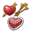 red heart is permeated with the golden arrow vector image vector image