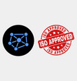 relations icon and scratched iso approved vector image vector image