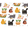 seamless pattern with cute funny cats sleeping vector image