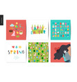 set of easter and spring postcards vector image vector image